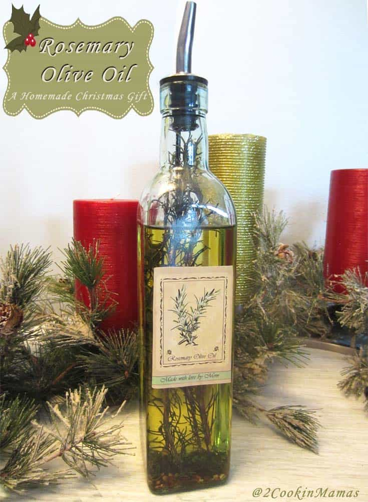 Easy to make homemade rosemary olive oil makes the perfect gift for holiday time or house warming. Great for bread dipping, dressings, pasta & rubs. #rosemary #oliveoil #christmas #homemade