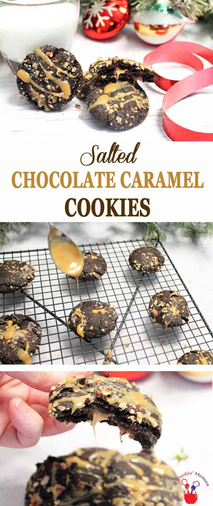 Salted Chocolate Caramel Cookies | 2 Cookin Mamas These Chocolate Caramel Cookies are easy to make & have a caramel surprise inside. It's like a molten lava cake in cookie form! #cookies #Christmascookies #chocolate #caramel