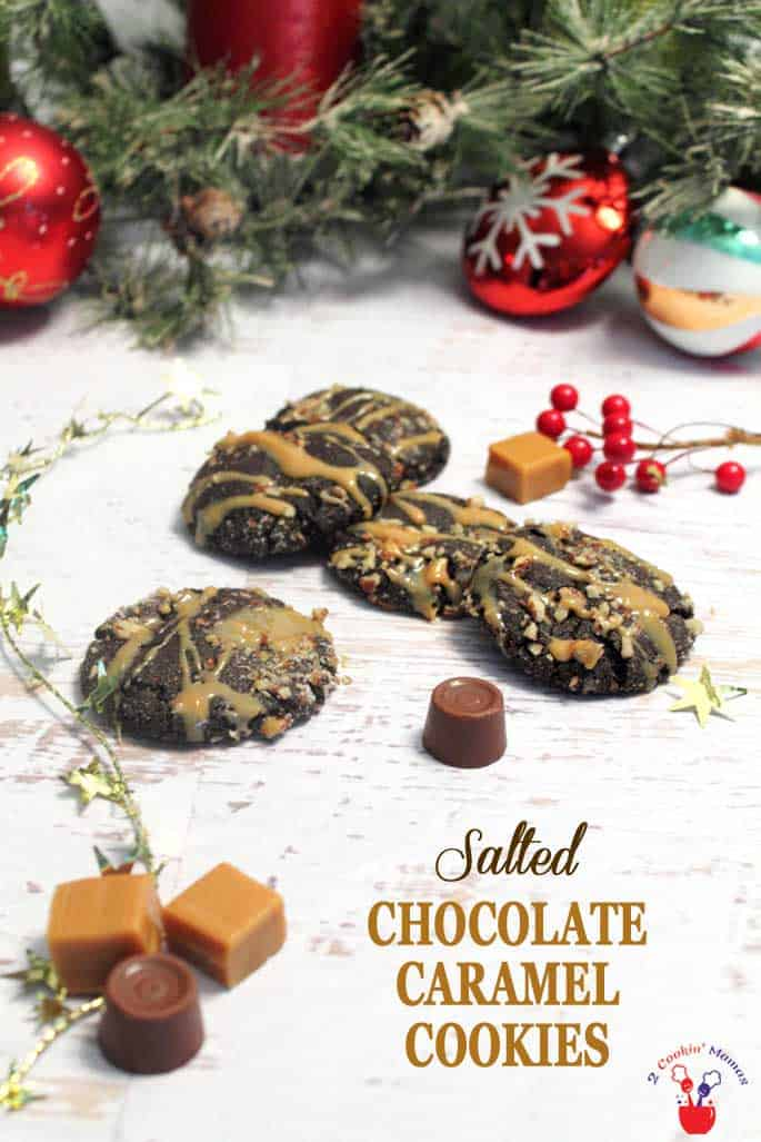Salted Chocolate Caramel Cookies main | 2 Cookin Mamas These Chocolate Caramel Cookies are easy to make & have a caramel surprise inside. It's like a molten lava cake in cookie form! #cookies #Christmas cookies #chocolate #caramel