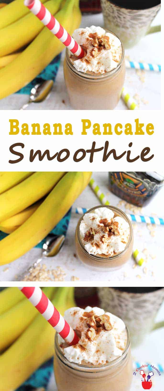 Banana Pancake Smoothie | 2 Cookin Mamas A healthy breakfast to start your day with the taste of pancakes. This Banana Pancake Smoothie is full of protein + a healthy dose of wake-me up coffee. #recipe #healthy #breakfast