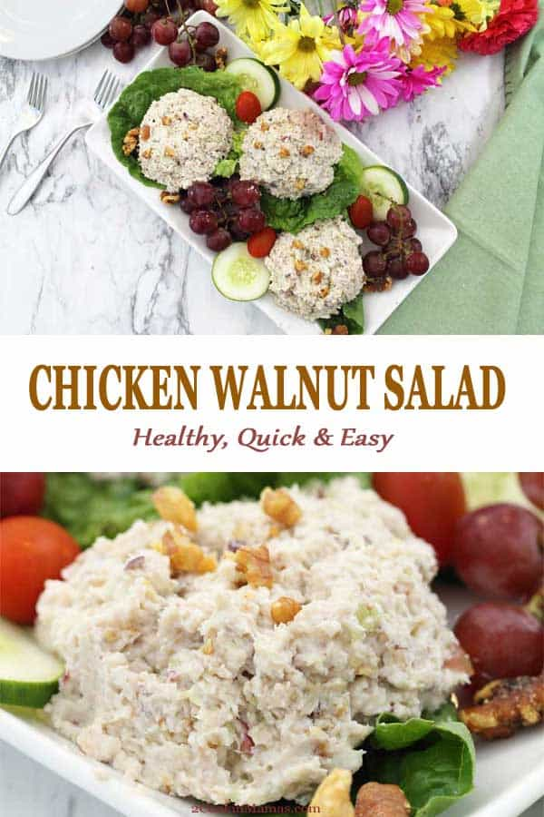 This Healthy Chicken Salad with Grapes is delicious and so easy to make. Start with a rotisserie chicken, add some crunchy walnuts & celery, sweeten it with grapes & toss with some light mayo. Simply put it all in a chopper or food processor and lunch is on the table in less than 15 minutes. #salad #chickensalad #rotisseriechicken #healthy #lunch #easy #summer #recipe #withgrapes #walnuts #lowcarb #glutenfree