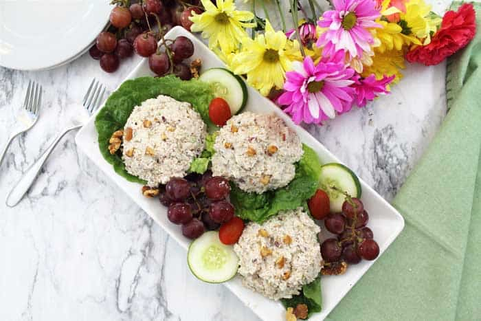 Healthy Chicken Salad with Grapes on white platter overhead