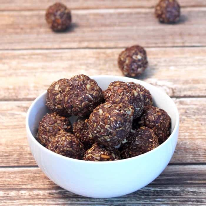 Chocolate Peanut Butter Energy Bites square1 | 2 Cookin Mamas