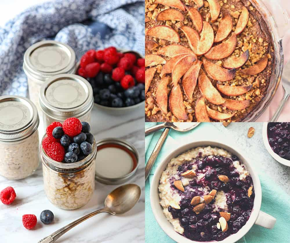 3 photos of oatmeal dishes.