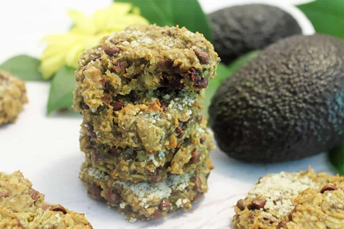 Stack of Avocado Oatmeal Cookies with bite taken out.