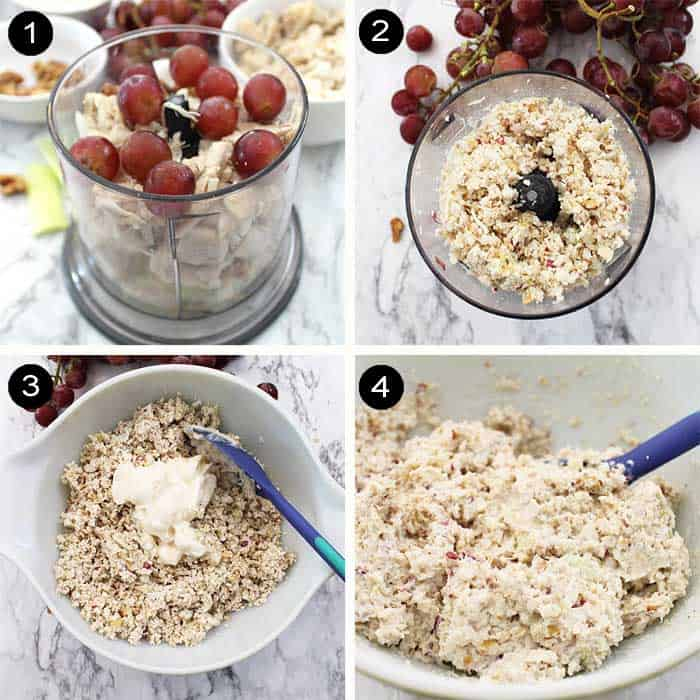 Prep steps for making healthy chicken salad.