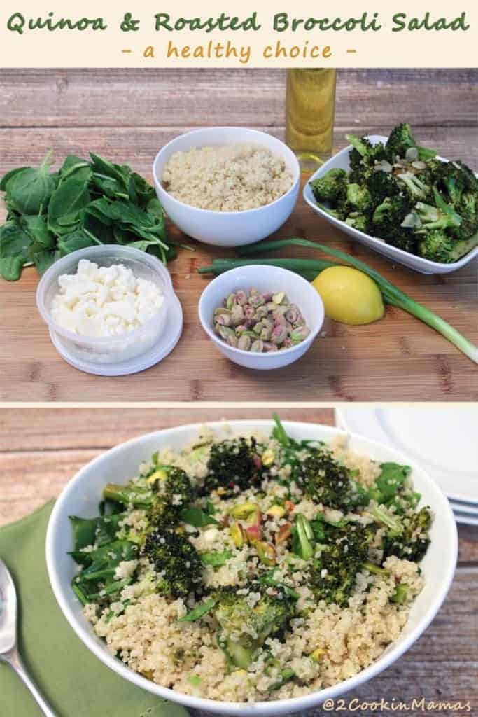 Quinoa and Roasted Broccoli Salad | 2CookinMamas - Quick, easy & healthy. Make it on the weekend and take it for lunches during the week. Excellent as a side or as a meatless meal option.