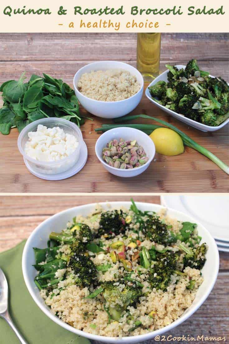 Quinoa and Roasted Broccoli Salad is healthy & easy to throw together. It can be a side, a meatless meal or, add fish or meat, for the perfect lunch or dinner.