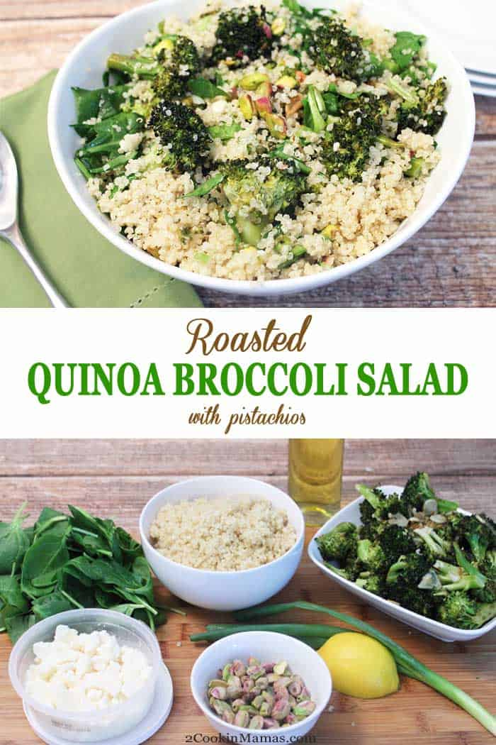 Roasted Quinoa Broccoli Salad | 2 Cookin Mamas Roasted Quinoa Broccoli Salad is healthy, full of protein & easy to throw together. It can be a side, a meatless meal or, add chicken, salmon or shrimp, for the perfect lunch or dinner. #sidedish #healthy #quinoa #broccoli #meatlessmeal #dinner