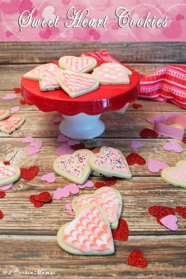 Sweet Heart Cookies|2CookinMamas - Decorate these perfect sugar cookie hearts to show your love.