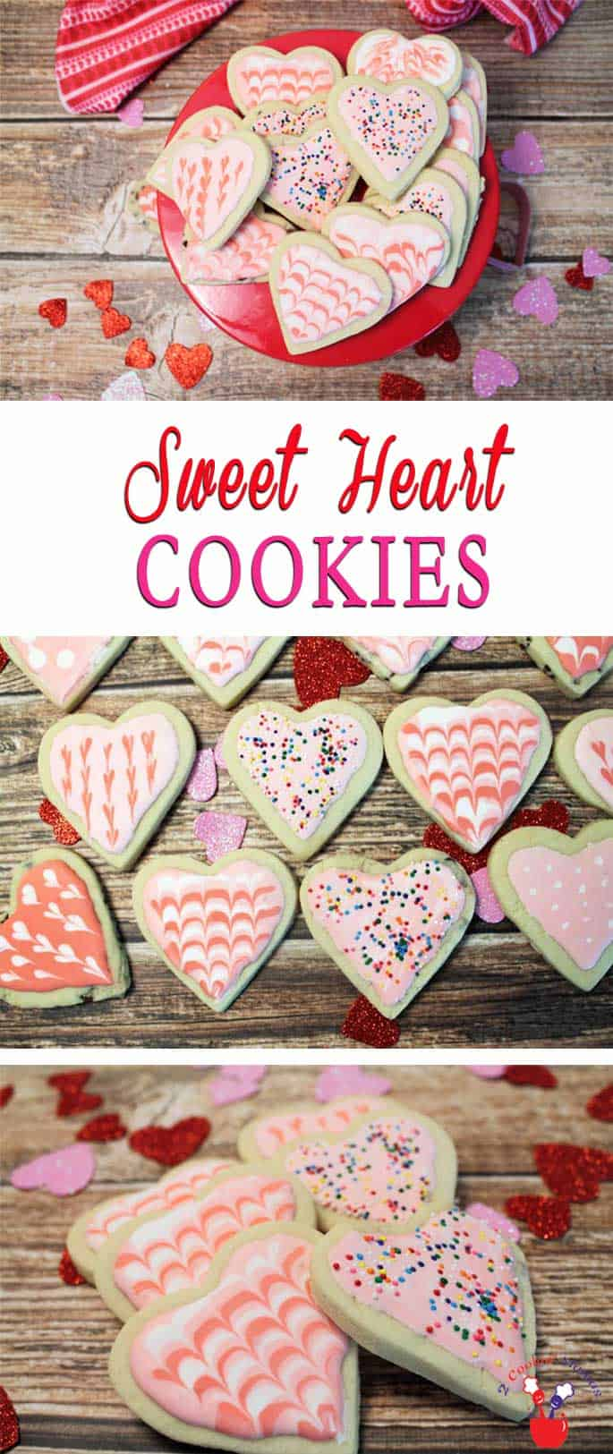 A basic sugar cookie dough makes these Sweet Heart Cookies easy to make. Delicious as they are or decorate with royal icing for your Valentine sweetheart. #cookies #ValentinesDaycookies #sugarcookies #decoratedcookies #royalicing