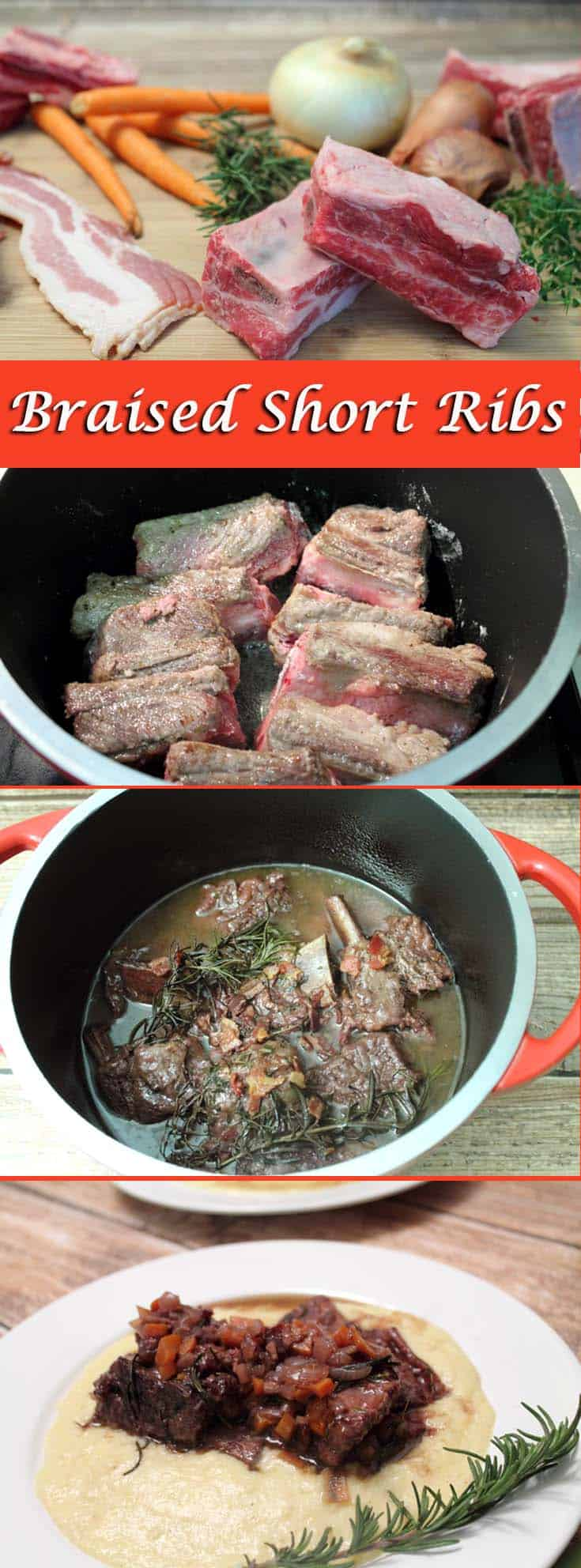 Braised Short Ribs pin2 | 2CookinMamas Fall off the bone deliciousness in an easy Dutch oven recipe. Short ribs cooked in wine and served over smoky cheesy polenta. The perfect dinner for company or everyday!