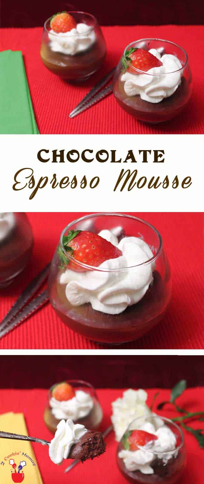 Chocolate Espresso Mousse | 2 Cookin Mamas Impress with this easy to make, light yet rich, Chocolate Espresso Mousse. The perfect dessert for chocolate lovers! There's even a dairy-free version!