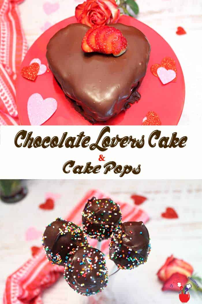 Chocolate Lovers Cake and Cake Pops | 2 Cookin Mamas A deliciously decadent chocolate lovers cake filled with no-bake strawberry cheesecake filling and covered with more chocolate. It's easy, perfect for special occasions and the leftover cake makes some yummy cake pops too! #chocolatecake #ValentinesDaydessert #chocolatecakepops #cakepops #dessert #chocolate