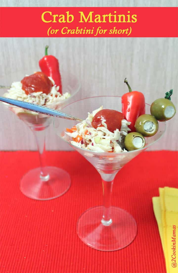 An easy to make Crab Martini piled high in a martini glass. It's a refreshing mix of crab meat, bell pepper, celery and onion, all flavored with vodka.