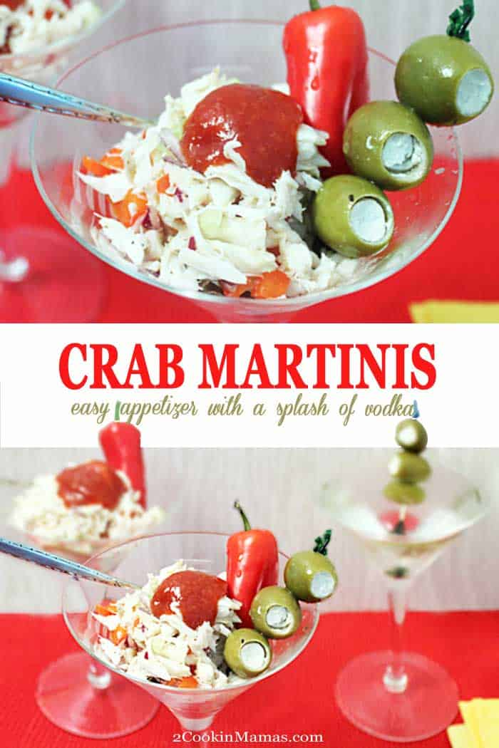 Crab Martini | 2 Cookin Mamas An easy to make Crab Martini piled high in a martini glass. It's a refreshing mix of crab meat, bell pepper, celery and onion, all flavored with vodka. The perfect appetizer for a special occasion. #appetizer #crab #lumpcarb #martini #vodka #easyrecipe #recipe #ValentinesDay #MothersDay