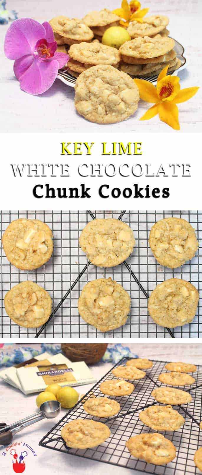 These key lime cookies have a refreshing hint of lime & are chock full of white chocolate, coconut and macadamia nuts. The perfect tropical cookie get-away! #cookies #keylime #macadamianuts #coconut #whitechocolate #summercookies
