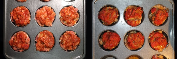 Meatloaf Cupcakes in muffin pans