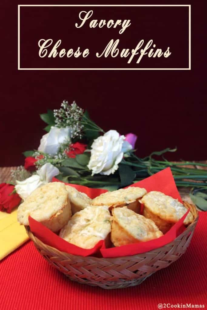 Savory Cheese Muffins | 2CookinMamas Easy to make savory muffins full of cheese & green onion. The perfect accompaniment to any meal.