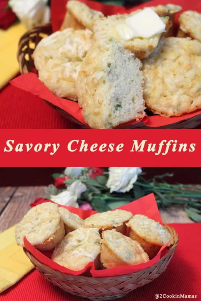 Savory Cheese Muffins pin| 2CookinMamas Easy to make savory muffins full of cheese & green onion. The perfect accompaniment to any meal.