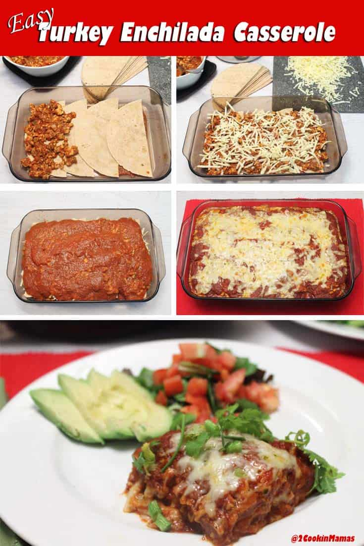 Quick & easy enchiladas. Just layer tortillas with turkey & cheese, pop in the oven & you'll have a Turkey Enchilada Casserole that everyone will love. #enchiladas #quickandeasy #dinner #Mexican