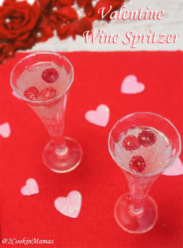 Valentine Wine Spritzer 1|2CookinMamas A pink hued cocktail that is light & perfect for any special occasion.