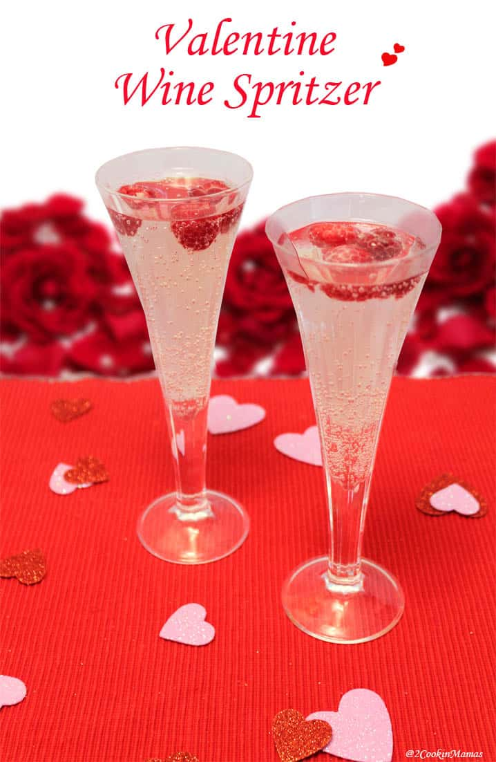 Valentine Wine Spritzer|2CookinMamas A pink hued cocktail that is light & perfect for any special occasion.