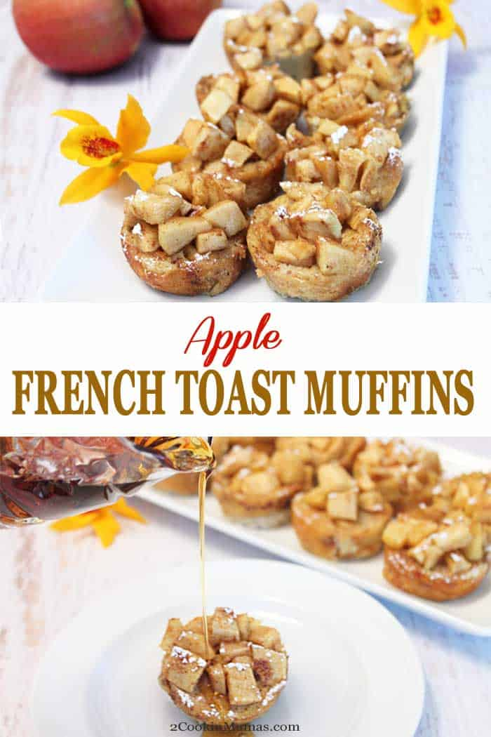 Apple French Toast Muffins are individual servings of French Toast in muffin form with all the same flavors of your favorite French Toast along with a sweet apple topping. They're easy to make and perfect for breakfast at home or an on-the-go treat. #frenchtoast #grabngobreakfast #breakfast #apples #recipe #muffins