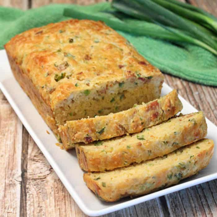 Bacon Cheddar and Onion Quick Bread square