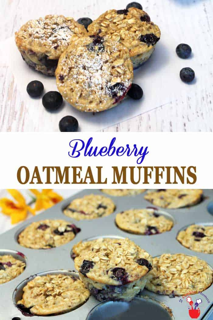 Blueberry Oatmeal Muffins are a healthy grab-n-go breakfast that tastes delicious. Easy to make with plenty of whole grain oats, antioxidant-rich blueberries, protein-packed yogurt and flavored with almond extract & cinnamon. It's like oatmeal you can hold in your hand! #muffins #oatmeal #blueberries #breakfast #healthy #recipe