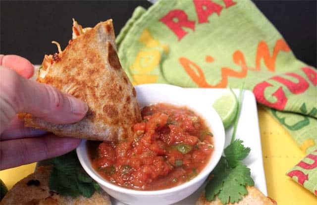 Chipotle Chicken Quesadillas dip it 2CookinMamas
