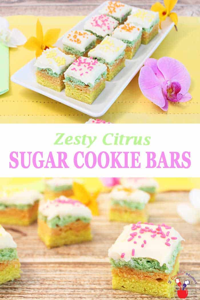 Citrus Sugar Cookie Bars | 2 Cookin Mamas These pretty pastel-colored citrus sugar cookie bars are perfect for celebrating Easter, spring and summer holidays. A flavorful combination of lime, orange and lemon, topped with vanilla frosting and seasonal toppings make these citrus bars the perfect sweet treat. #cookies #sugarcookies #springcookies #dessert #recipe #barcookies