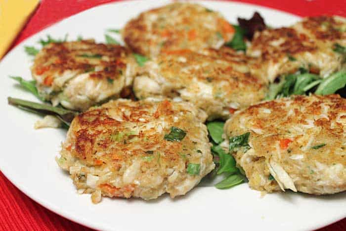 Easy Crab Cakes closeup | 2 Cookin Mamas