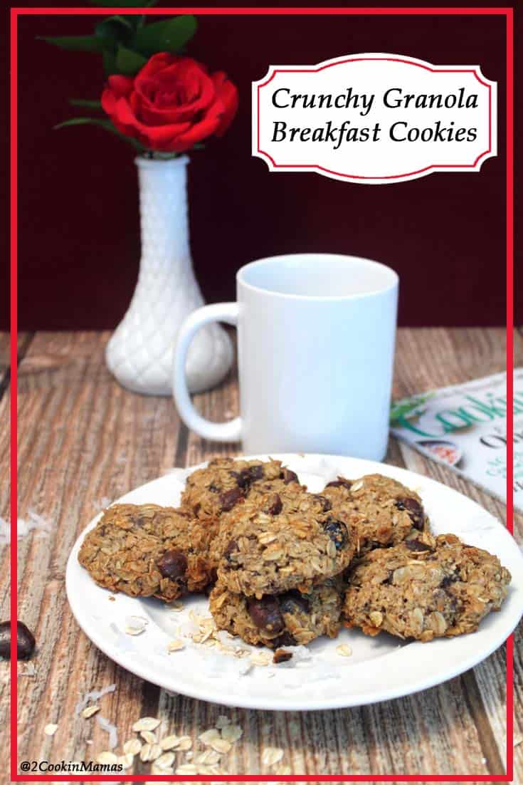 Crunchy Granola Breakfast Cookies | 2CookinMamas Healthy cookies full of oats, nuts & blueberries and drizzled with a little dark chocolate. After all, who doesn't love cookies for breakfast!