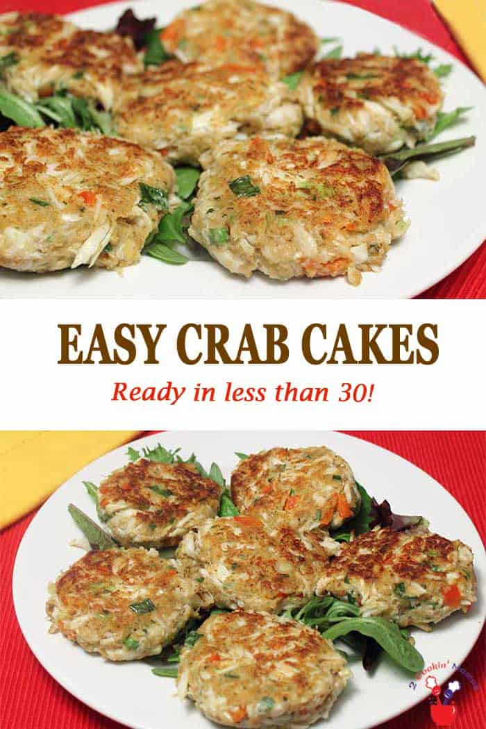 Easy Crab Cakes | 2 Cookin Mamas Easy to make crab cakes with little filler and lots of flavor. Just mix ingredients, lightly pan fry and dinner can be on the table in under 20. Great for breakfast too! #crabcakes #crab #dinner #breakfast #easyrecipe #recipe