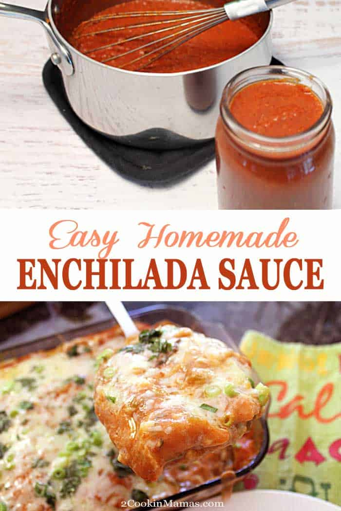 A quick & easy homemade enchilada sauce for your Mexican dishes. In less than 15 minutes you'll have a rich sauce for enchiladas or as a salsa for fajitas & tacos. #enchiladasauce #easyrecipe #mexicanfood #enchiladas #recipe