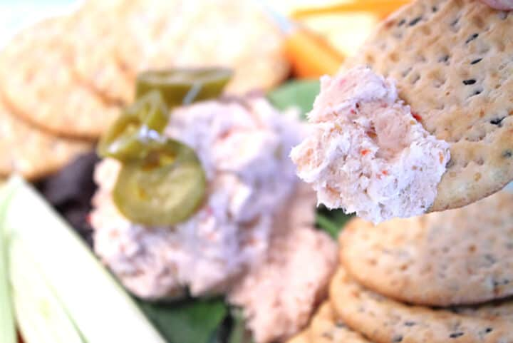 A scoop of fish dip on a cracker.