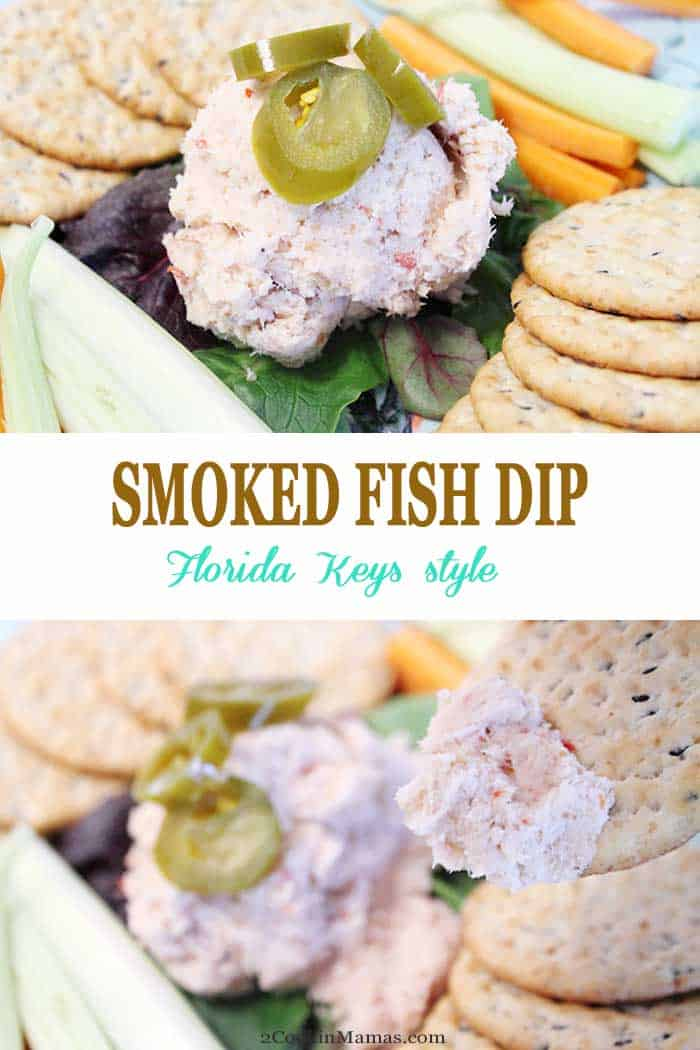 Smoked Fish Dip | 2 Cookin Mamas The laid back Florida Keys are the southernmost point in US but feel as far away as the Caribbean.Dive into seafood & some of the best smoked fish dip ever. #appetizer #fishdip #smokedfishdip #FloridaKeys #recipe