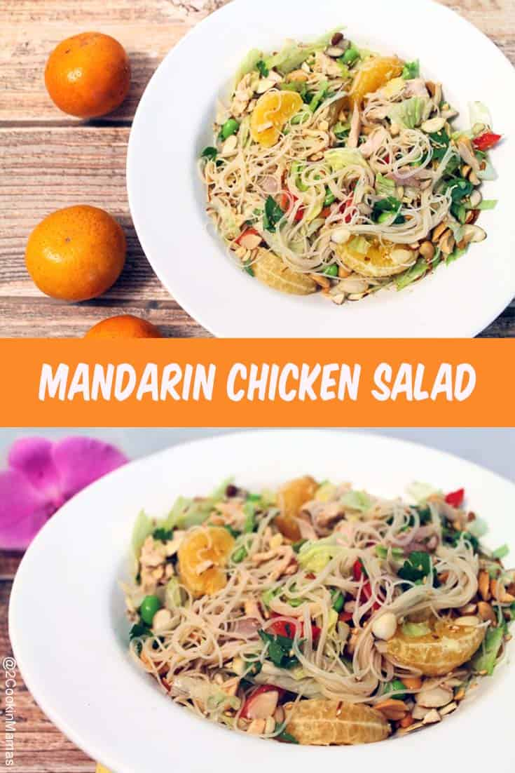 Lighten up with this Asian-inspired Mandarin Chicken Salad filled with oranges, edamame, lettuce & rice noodles & tossed with a light ginger-soy dressing. #healthysalad #salad #chicken #asianflavor #oranges #recipe