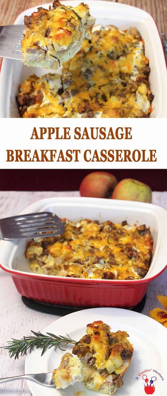Sausage Apple Breakfast Casserole is an easy throw together casserole for breakfast, complete with sausage, eggs, cheese and some yummy french or sour dough bread. Perfect for holiday guests or make it ahead, freeze it and it's perfect for quick on-the-go breakfasts. #breakfast #sausage #eggs #casserole