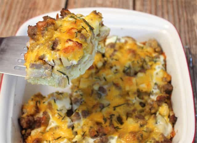 Sausage Apple Breakfast Casserole serve it up|2CookinMamas