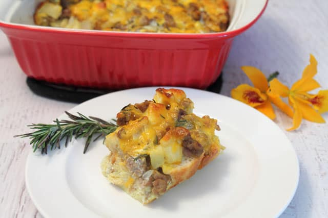 Sausage Apple Breakfast Casserole serving|2CookinMamas