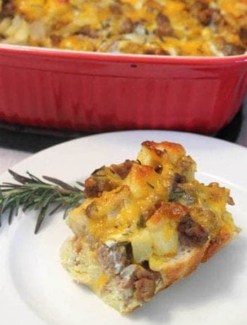 Sausage Apple Breakfast Casserole square | 2 Cookin Mamas