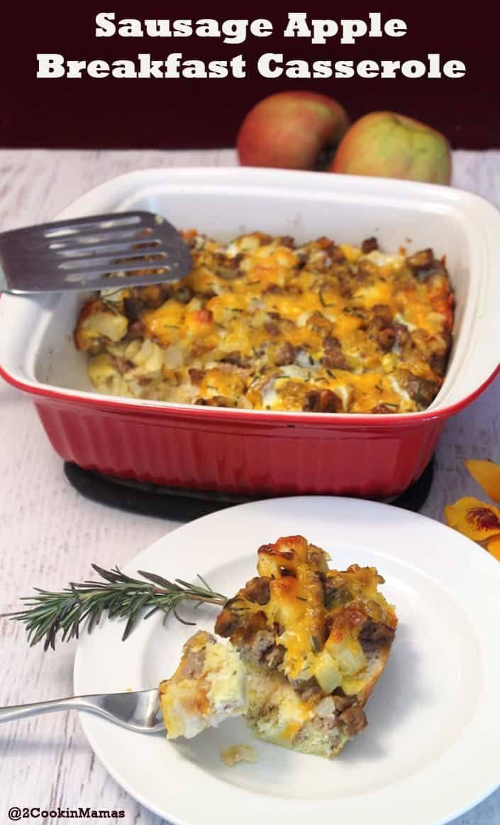 Sausage Apple Breakfast Casserole|2CookinMamas Such an easy casserole to throw together for breakfast, complete with sausage, eggs, cheese and some yummy french or sour dough bread. Freeze it and its perfect for a quick on the go breakfast for those busy mornings.
