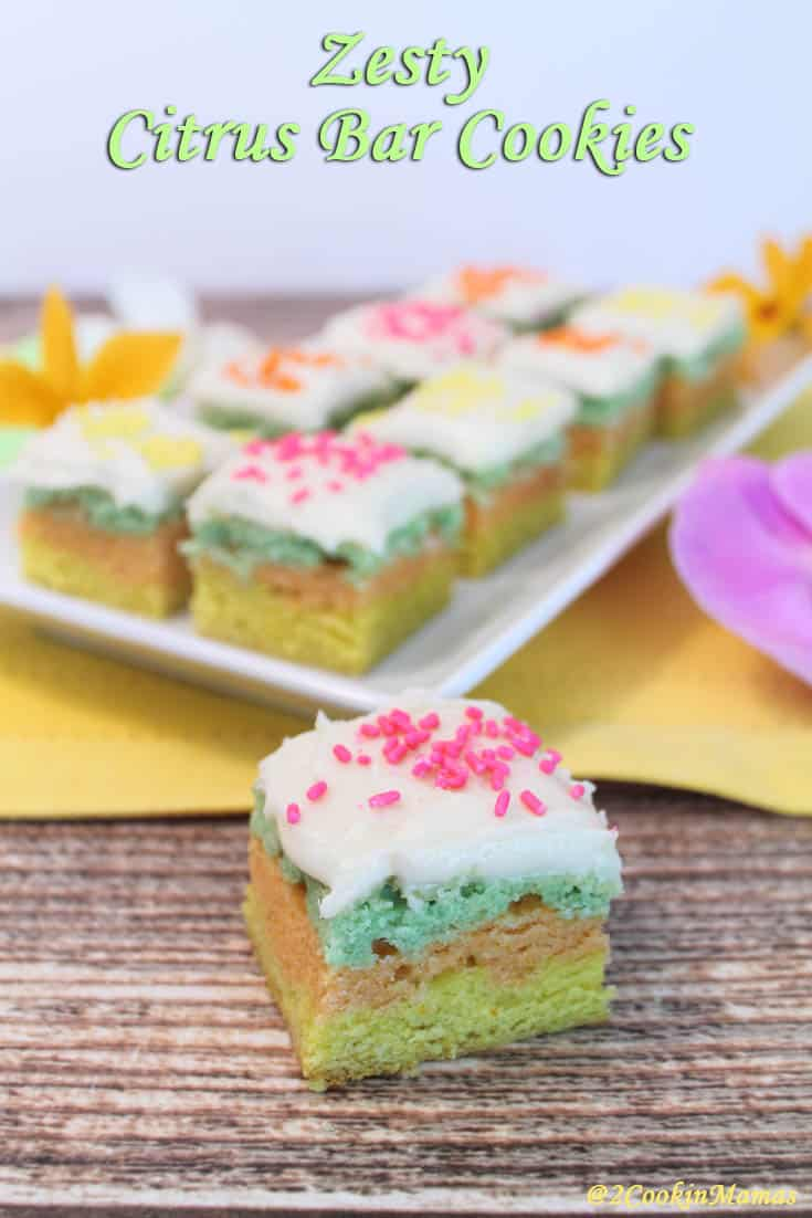 Zesty Citrus Cookie Bars | 2CookinMamas Layered sugar cookies flavored with lime, lemon & orange then topped with a sweet icing. Decorated perfectly for spring and Easter.