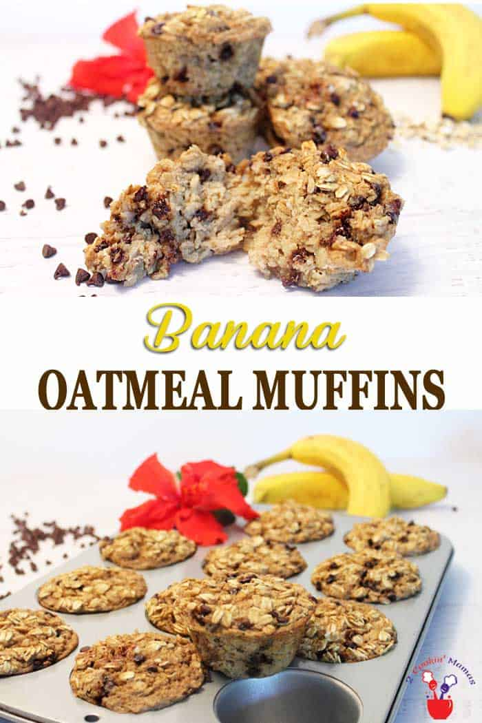 Banana Oatmeal Muffins | 2 Cookin Mamas Easy to make grab 'n go banana oatmeal muffins. It's oatmeal with all it's benefits in muffin form! Make on the weekend & have a healthy breakfast all week. Gluten-free too! #healthybreakfast #bananamuffins #oatmealmuffins #grabngobreakfast #glutenfreemuffins