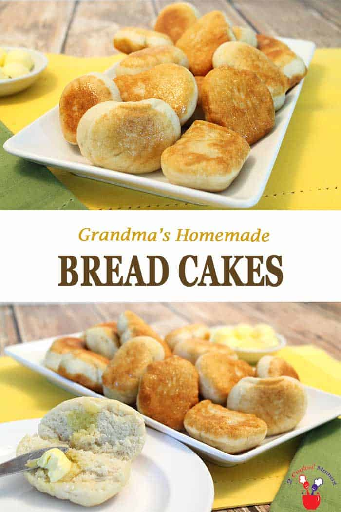 Bread Cakes  2 Cookin Mamas Bread Cakes are little breads fried to golden perfection - soft on the inside & crunchy on the outside. Perfect with a pat of butter or a dollop of honey. #breadcakes #breakfast #bread #recipe