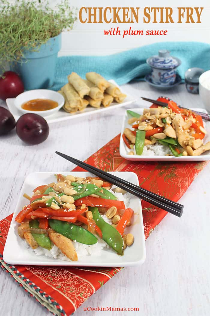This Chicken Stir Fry is a quick, easy & healthy dinner for busy weeknights. Chicken and vegetables are quick fried then tossed with a fresh plum sauce for the perfect dinner in 30! #asian #chicken #stirfry #easy #dinner #plumsauce #recipe #withvegetables #healthy #lowcarb #plumsauce #chinese #withpeppers #peanuts #glutenfree