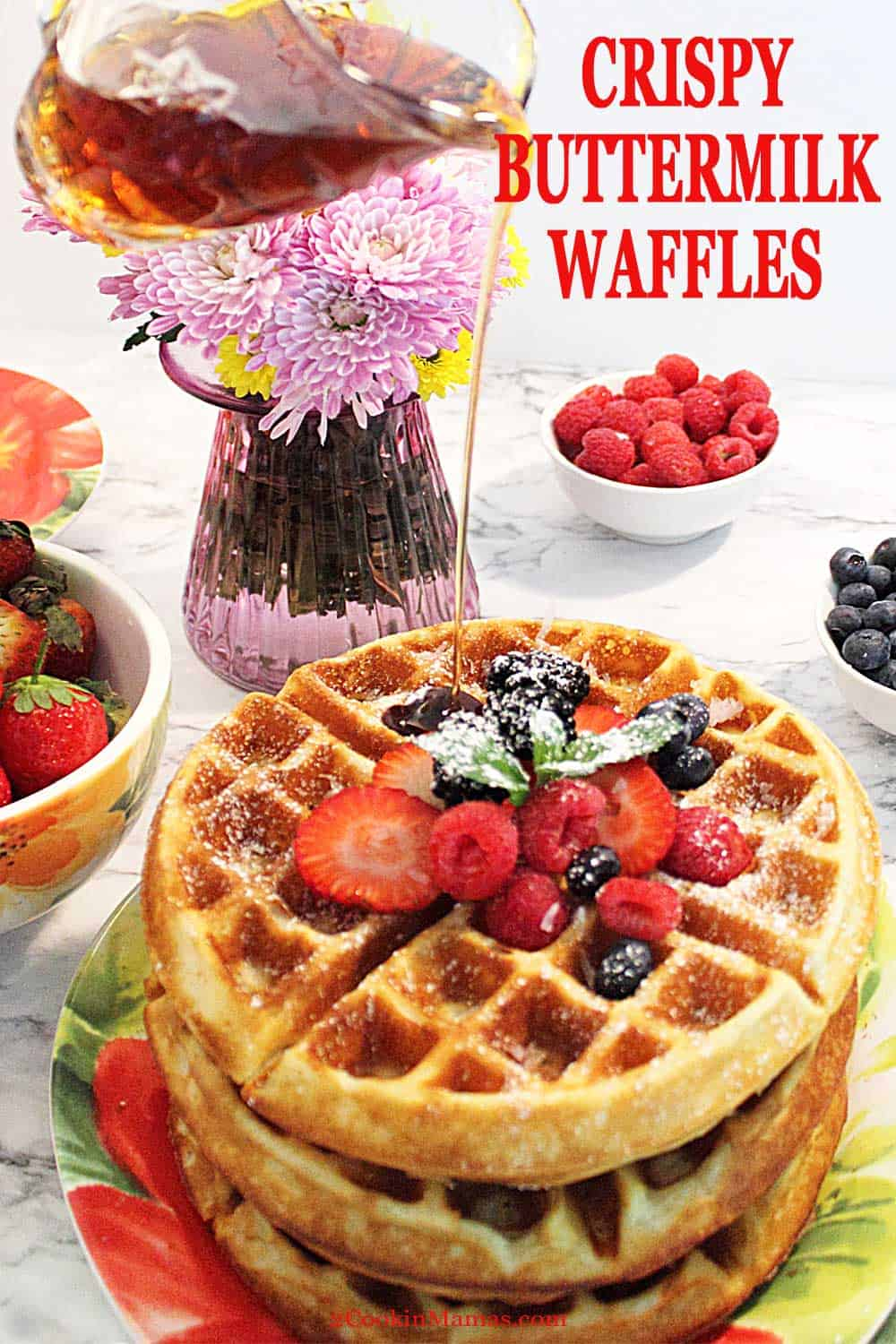 Find out the secret ingredient and trick that makes these waffles the best you\'ve ever had! The perfect waffles - crunchy on the outside, soft on the inside and super delicious! Great for weekend mornings and special enough for Mother\'s Day and Father\'s Day. #waffles #breakfast #recipe #easy #buttermilk #mothersday #fathersday #brunch