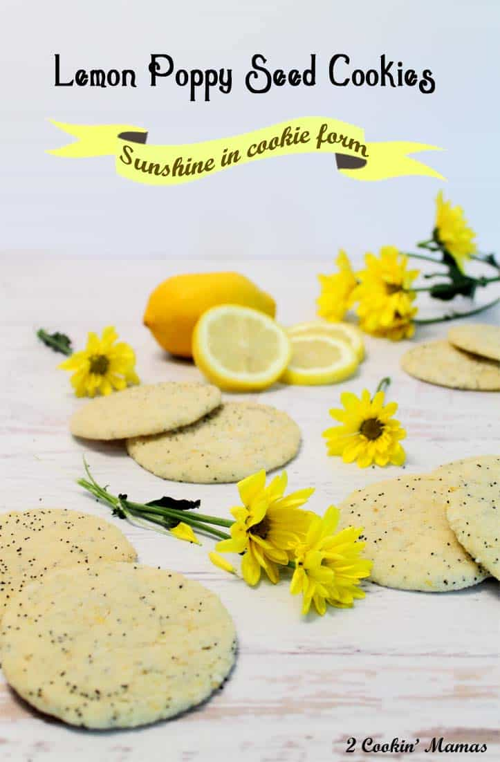 Lemon Poppy Seed Cookies | 2 Cookin' Mamas This soft chewy cookie is just bursting with lemon flavor. It's like sunshine in a cookie! Perfect for the hot days of summer.